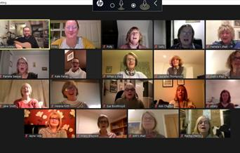 Forgotten Voices Community Choir meeting currently on Zoom, in East Yorkshire