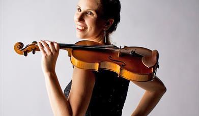 Hungarian violinist Boglarka Gyorgy, at Howden Minster, East Yorkshire