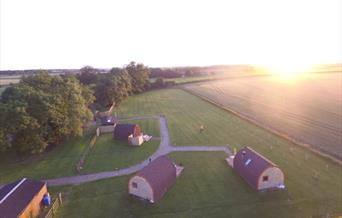 An aerial image of the glamping pods at Bracken Burrows, East Yorkshire