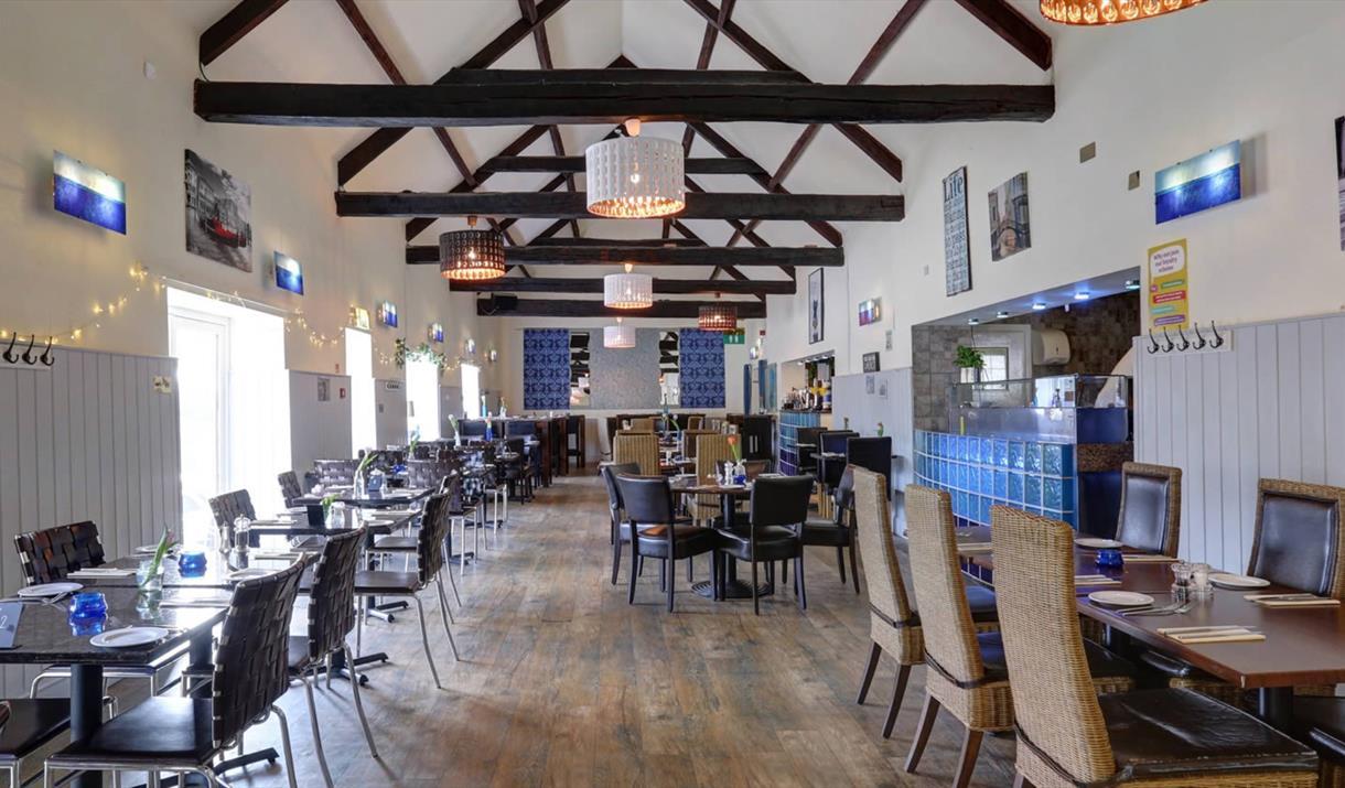 The interior of Azzurro Italian Restaurant, Bridlington in East Yorkshire.