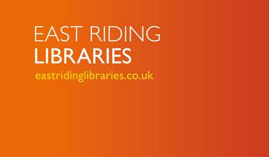 An image of 'East Riding Libraries' with the website eastridinglibraries.co.uk
