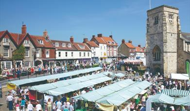 A market, in the Market Place, Malton, East Yorkshire.