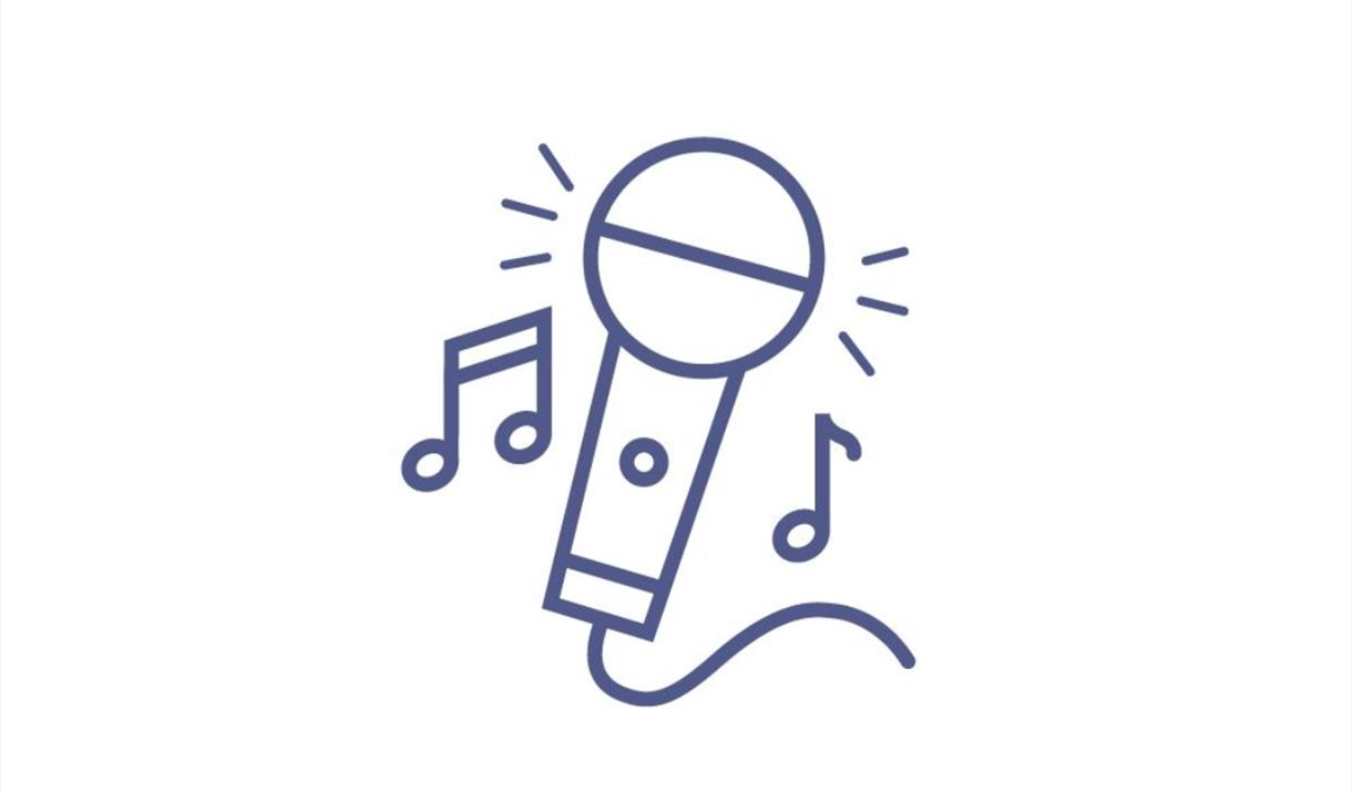 An image of an icon of a microphone and musical notes - representing a music event, or a talk