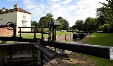 The lock gates at Pocklington canal in East Yorkshire.