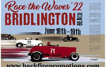 An image of 1920s cars driving on the beach, advertising Race the Waves 2022