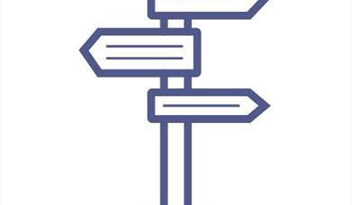 An image of an icon of a wayside finger-post, showing three directions