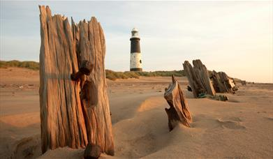 Spurn point beach and lighthouse in East Yorkshire