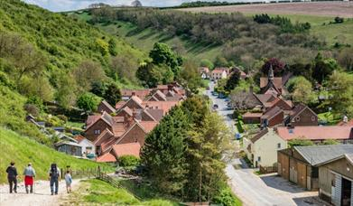 Thixendale village, showing it nestled in the valley in East Yorkshire.