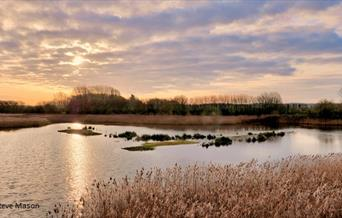 An autumn sunset at Tophill Low Nature Reserve, Driffield in East Yorkshire.