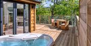 One of the lodges with hot tub at Wolds Edge Holiday Lodges, Bishop Wilton in East Yorkshire.
