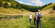 Visitors doing Nordic walking at Wolds Edge Holiday Lodges, Bishop Wilton in East Yorkshire.