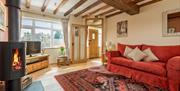 Living room & log burner at Broadgate Farm Cottages, Walkington, East Yorkshire.