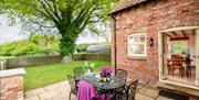 An outdoor seating area at Broadgate Farm Cottages, Walkington, East Yorkshire.