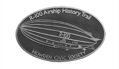 A plaque of the R100 Airship, which can be found on the History Trail, Howden, East Yorkshire