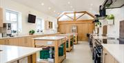 The work benches in the training kitchen at the Yorkshire Wolds Cookery School, Driffield, East Yorkshire.