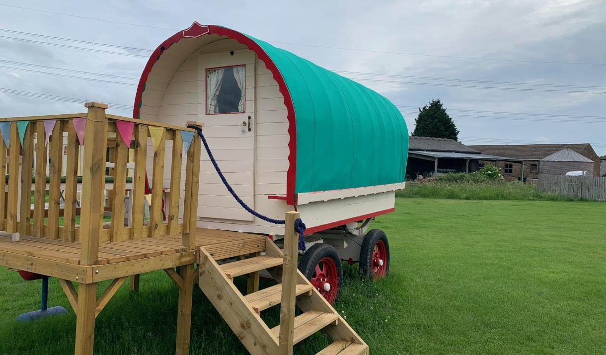 A glamping wagon at Butt Farm, Beverley, East Yorkshire