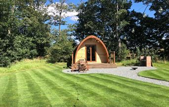 A camping pod, with barbecue & fire pit, at Little Wold Away Glamping in East Yorkshire