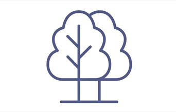 AN image of an icon of trees, representing an area in the  countryside, such as a viewpoint, or picnic site, or a garden to visit