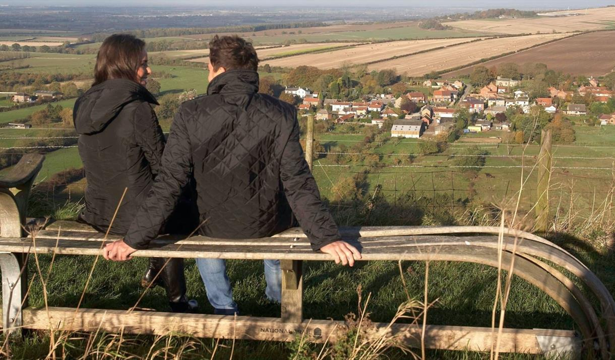 Wander bench at Millington view point on the Yorkshire Wolds.