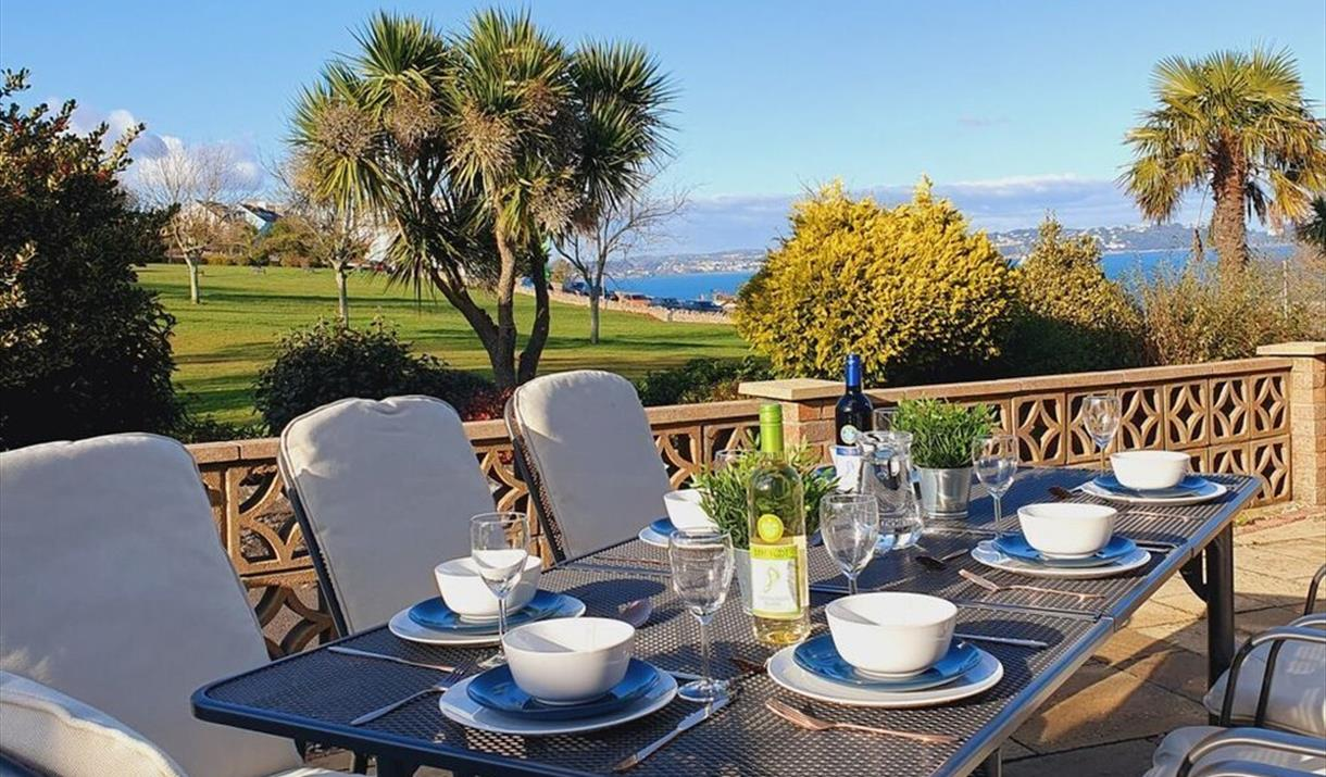 Stunning views from the patio of Sail Away, Brixham, Devon
