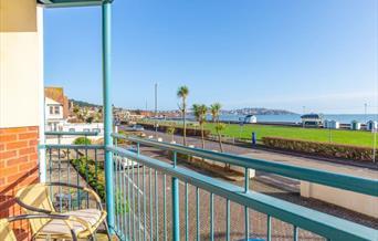 Balcony and view, 4 Belvedere Court, 37 Marine Drive, Paignton, Devon