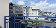 Balcony and view,  56 Moorings Reach, Brixham, Devon