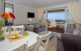 Open Plan Living area with view, Curlew 5, The Cove, Brixham, Devon