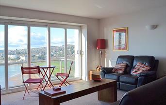Lounge with view, 6 Astor House, Warren Road, Torquay, Devon