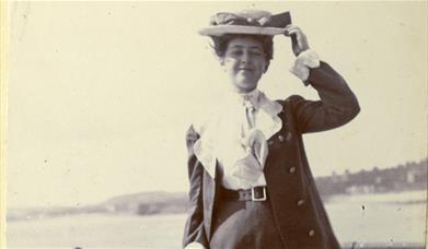 Agatha Christie enjoying the sun in Torquay