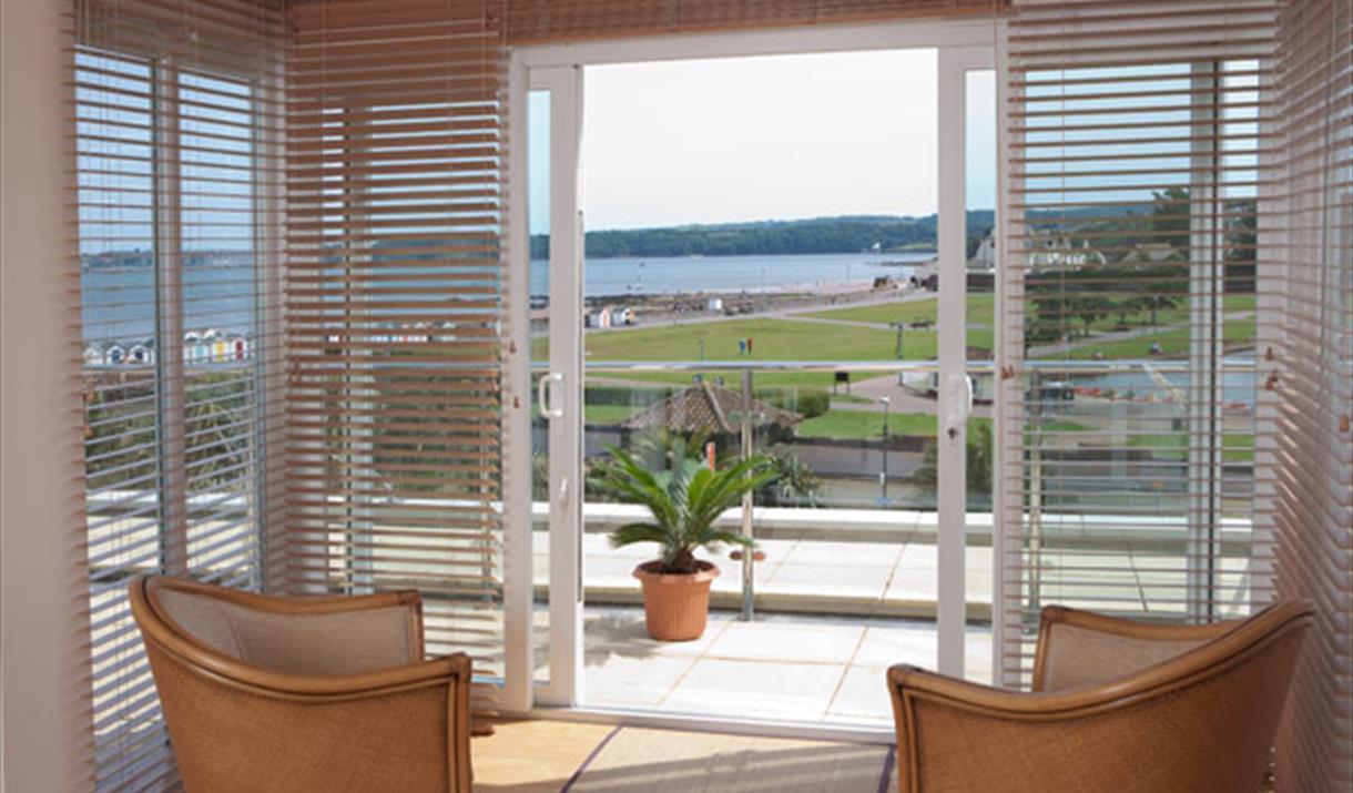 Balcony and view, Apartment 8, Goodrington Lodge, 23 Alta Vista Road, Paignton, Devon