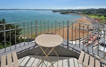 Balcony and view from Astor House, Torquay, Devon