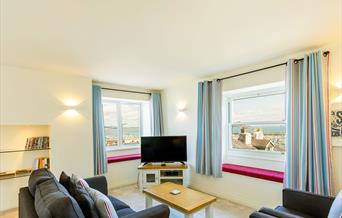 Lounge with sea view, Bay View Holiday Apartment, 5 Bay View Steps, Brixham, Devon