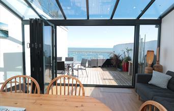 Balcony and sea view, Blue Buoy Cottage, 5 North Furzeham Road, Brixham, Devon