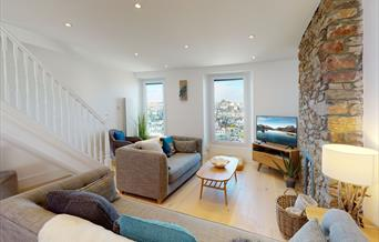 Lounge with sea view, The Captain's Cottage, North View Road, Brixham, Devon
