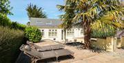 Sun loungers on patio, Elberry House, 38 Broadsands Road, Paignton, Devon
