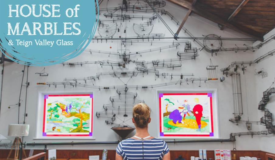 Looking at art at The House of Marbles in Newton Abbot