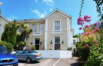 Front of Melba House with parking, Torquay, Devon