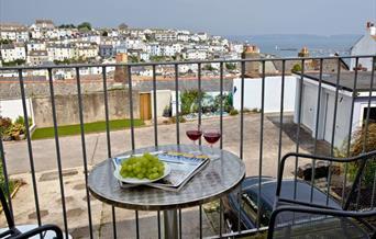 Balcony with view, Harbour View, 8 Jacolind Walk, Brixham, Devon