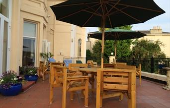 Outside seating, Crofton House Hotel, Torquay, Devon