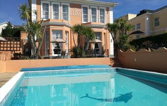 Swimming pool at Devon Court Luxurious Bed & Breakfast, Torquay, Devon