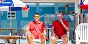 Lifeguards at the outside pool at Landscove, Brixham, Devon