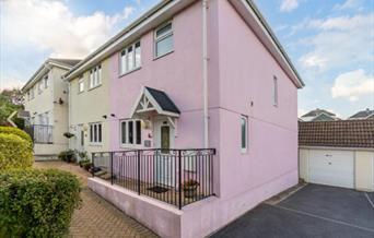 Exterior, parking and garage, The Pink House, 86 York Road, Paignton, Devon