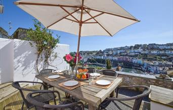 View from decking area, Polly's Place, 25 Prospect Road, Brixham, Devon