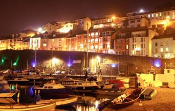 Exterior at night, Quayside Hotel, Brixham, Devon
