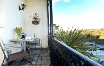 Balcony and view from room at at Seabreeze, Babbacombe, Torquay
