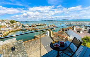 Balcony with view, Seascape, 5a Bay View Steps, Brixham, Devon