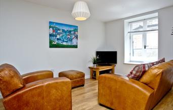 Lounge area at No.1 The Pump House, Brixham, Devon