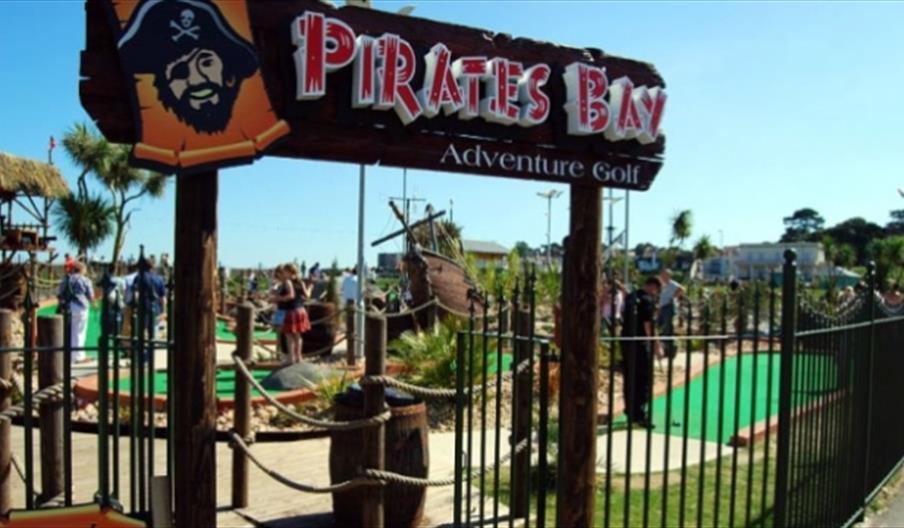 Pirates Bay adventure golf entrance in Paignton, Devon