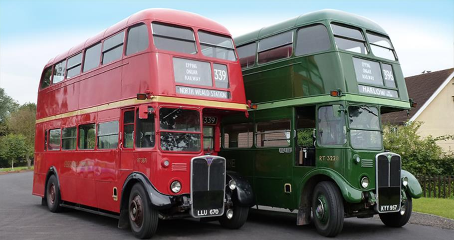 Heritage buses operated by Epping Ongar Railway at North Weald Station