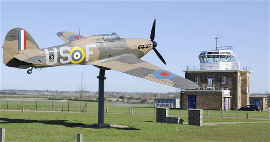 The Hurricane gate-guardian and control tower at North Weald Airfield